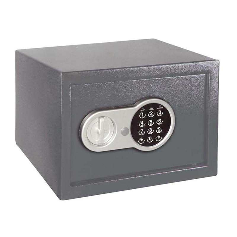 Seif electronic pentru birou, 20 x 31 x 20 cm, 2 chei incluse, Gri 2021 shopu.ro