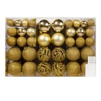 Set 100 de globuri pentru brad, dimensiuni asortate, auriu