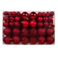 Set 100 de globuri pentru brad, dimensiuni asortate, rosu
