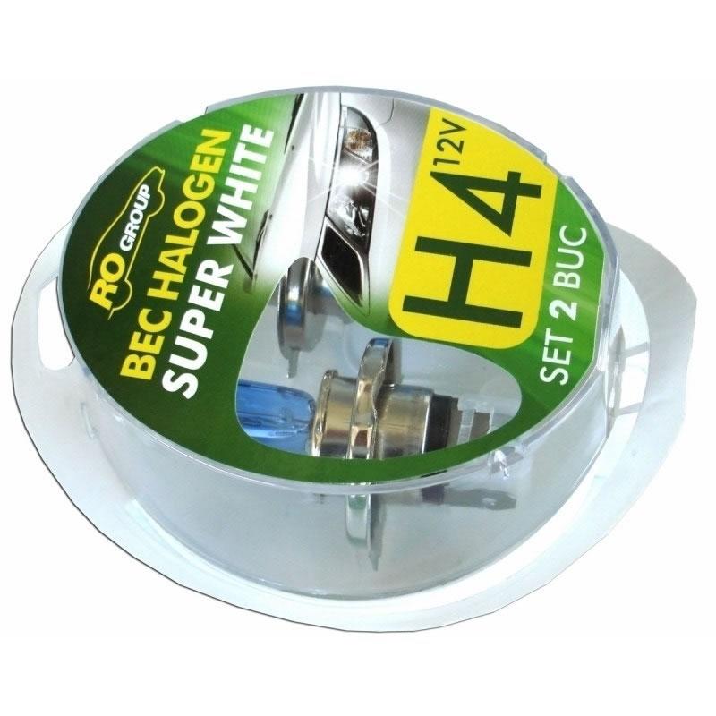 Set 2 becuri cu halogen pentru far H4, 12V, 60/55W 2021 shopu.ro
