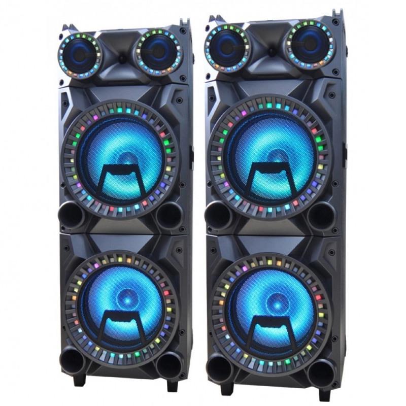 Set 2 boxe karaoke Zephyr, LED, bluetooth, jack microfon 2021 shopu.ro