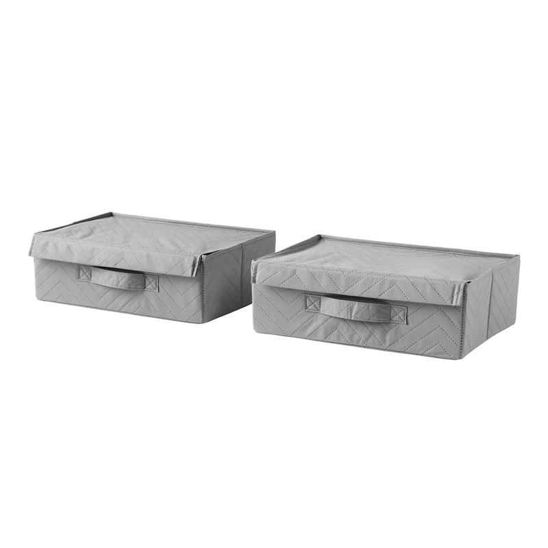Set 2 cutii pentru depozitare pantofi, 36 x 26 x 13 cm, Gri 2021 shopu.ro