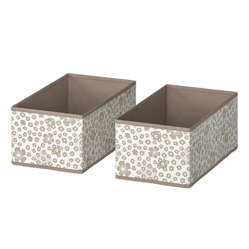Set 2 cutii pentru depozitare, 20 x 37 x 15 cm, model floral, Crem 2021 shopu.ro