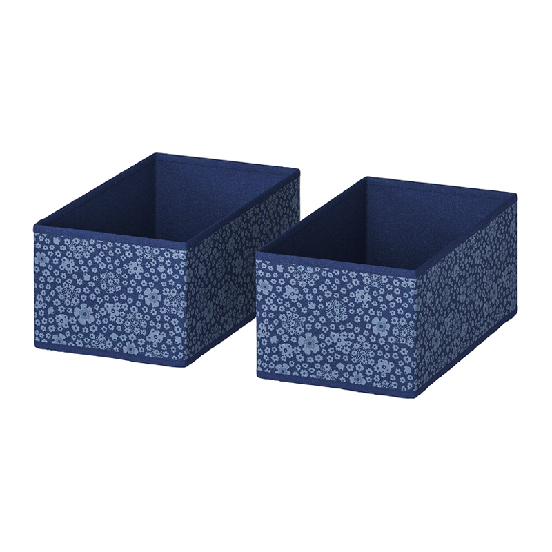 Set 2 cutii pentru depozitare, 20 x 37 x 15 cm, model floral, Albastru/Alb 2021 shopu.ro