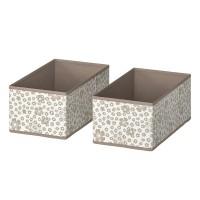 Set 2 cutii pentru depozitare, 20 x 37 x 15 cm, model floral, Crem