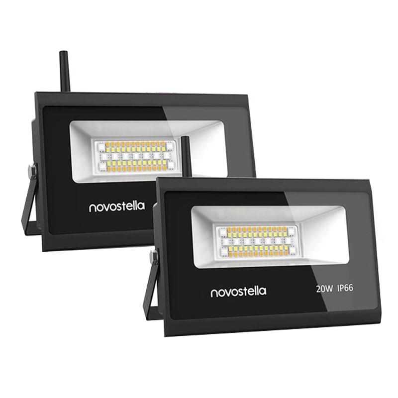 Set 2 proiectoare de podea Smart Wi-fi Novostela, 20 W, 2000 lm, LED RGB 2021 shopu.ro
