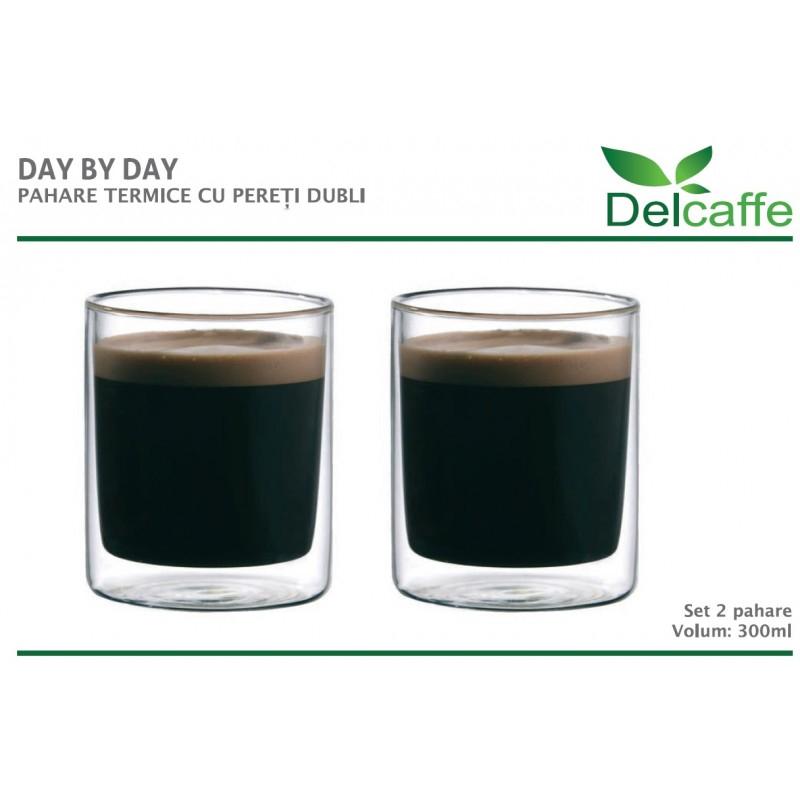 Set pahare Day by Day DelCaffe, 300ml, sticla termorezistenta, functie termala, transparente, 2 bucati 2021 shopu.ro