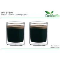Set pahare Day by Day DelCaffe, 300ml, sticla termorezistenta, functie termala, transparente, 2 bucati