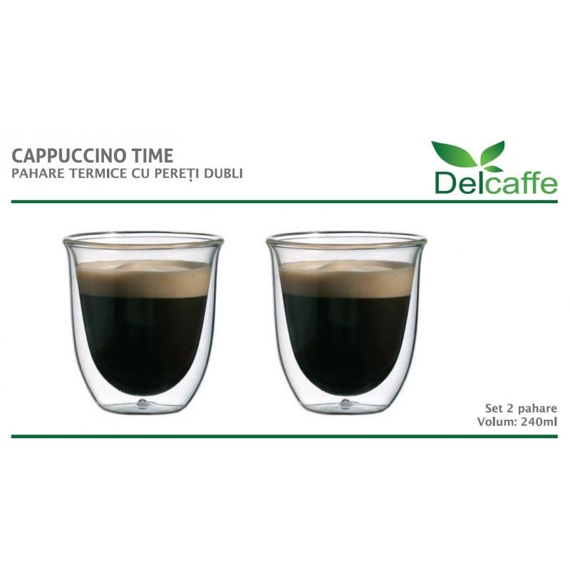 Set pahare Cappuccino DelCaffe, 240ml , sticla termorezistenta, transparente, perete dublu, 2 bucati 2021 shopu.ro
