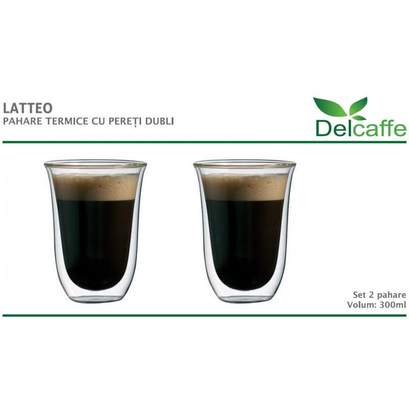 Set pahare Latteo DelCaffe, 300ml, sticla termorezistenta, perete dublu, transparente, 2 bucati 2021 shopu.ro
