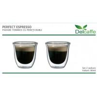 Set pahare Espresso DelCaffe, 80 ML, sticla termorezistenta, perete dublu, 2 bucati