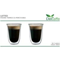 Set pahare Latteo DelCaffe, 300ml, sticla termorezistenta, perete dublu, transparente, 2 bucati