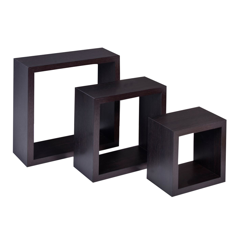 Set 3 rafturi de perete Wenge, sistem fixare ascuns, model mic, Maro inchis shopu.ro