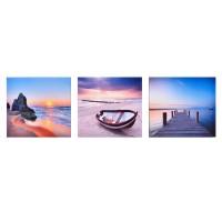 Set 3 tablouri canvas, 25 x 25 cm, imprimeu plaja