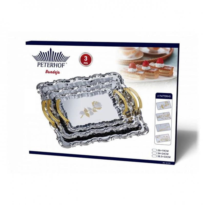 Set 3 tavi pentru servit Peterhof, inox, Argintiu/Auriu