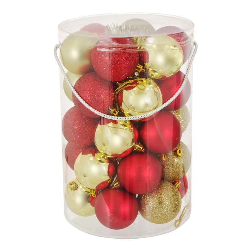 Set 30 de globuri pentru brad, 7 cm, rosu/auriu 2021 shopu.ro