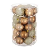 Set 30 de globuri pentru brad, 7 cm, Auriu