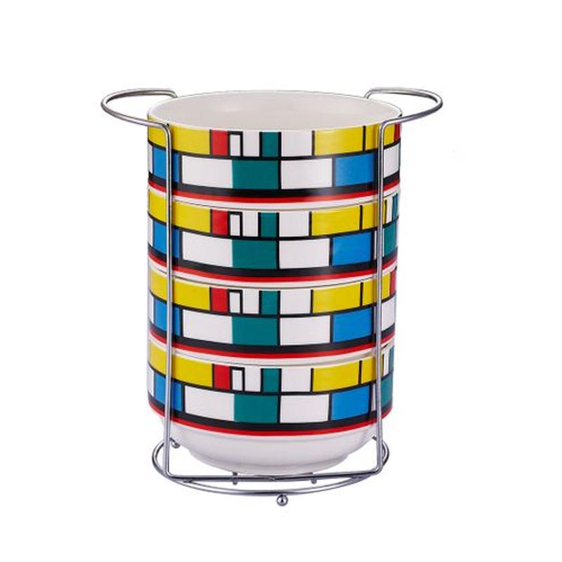 Set 4 boluri portelan WB-40302, 680 ml, suport inclus