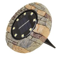 Set 4 lampi solare Disk Lights, 6500 lm, model piatra