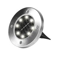 Set 4 lampi solare Metal Disk Lights, Argintiu