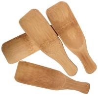 Set 4 lingurite patrate pentru sare de baie Oranjollie, lemn