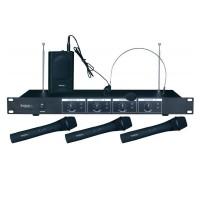Set 4 microfoane wireless Ibiza VHF4, 3 de mana si 1 casca