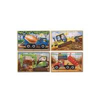 Set 4 puzzle Vehicule pentru constructii, 12 piese, 20 x 15 cm
