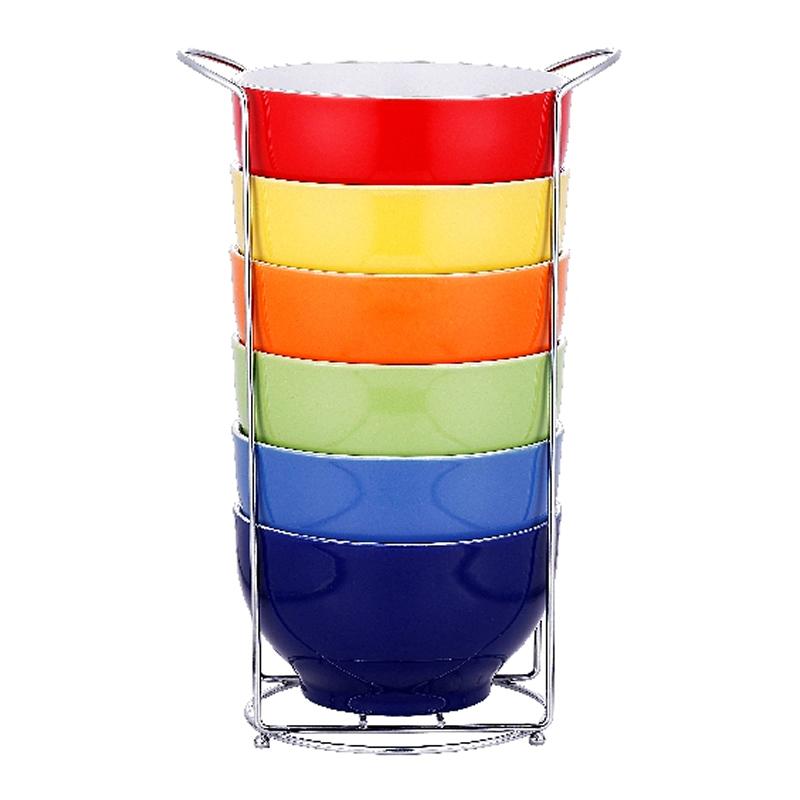 Set 6 boluri Vabene, ceramica, suport inclus, multicolor