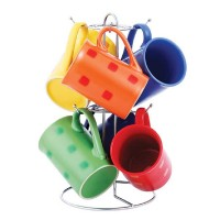Set 6 cani din ceramica Vabene, suport inclus, multicolor