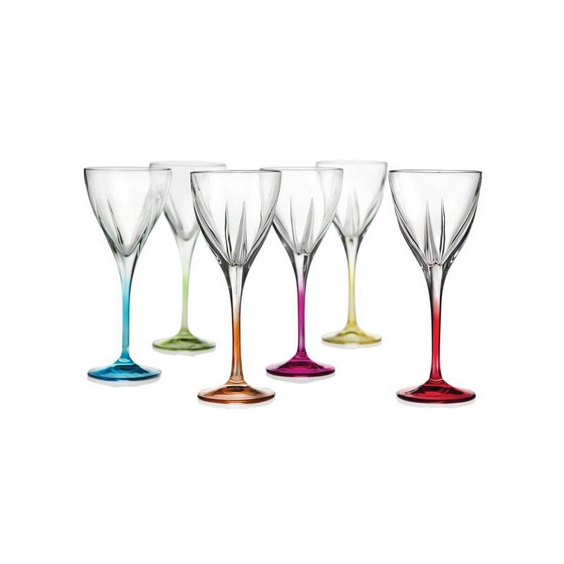 Set pahare apa cu picior Fusion RCR, 250 ML, sticla cristalina, multicolor, 6 bucati 2021 shopu.ro