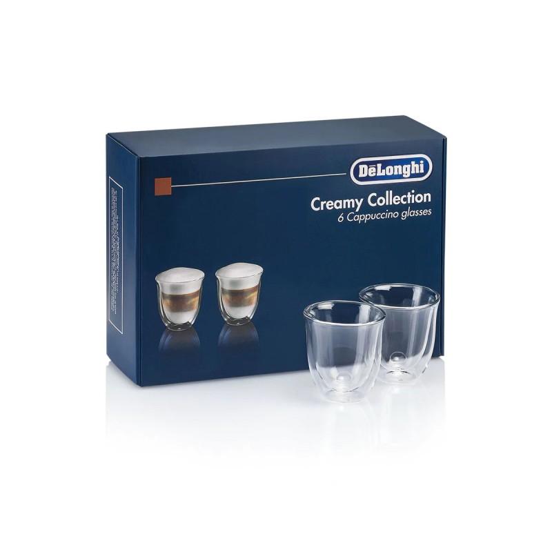 Set pahare cappuccino Fancy Collection DeLonghi, 190 ml, sticla termorezistenta, transparente, perete dublu, 2 bucati 2021 shopu.ro