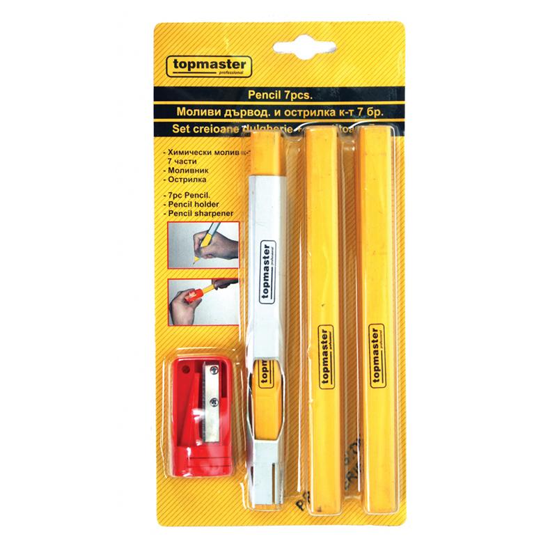 Set 7 creioane tamplar Top Master Pro, ascutitoare inclusa shopu.ro