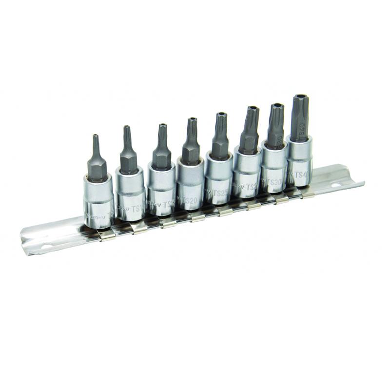 Set 8 biti Torx Penta TS8-40 Topmaster, 1/4 inch, otel crom-vanadiu