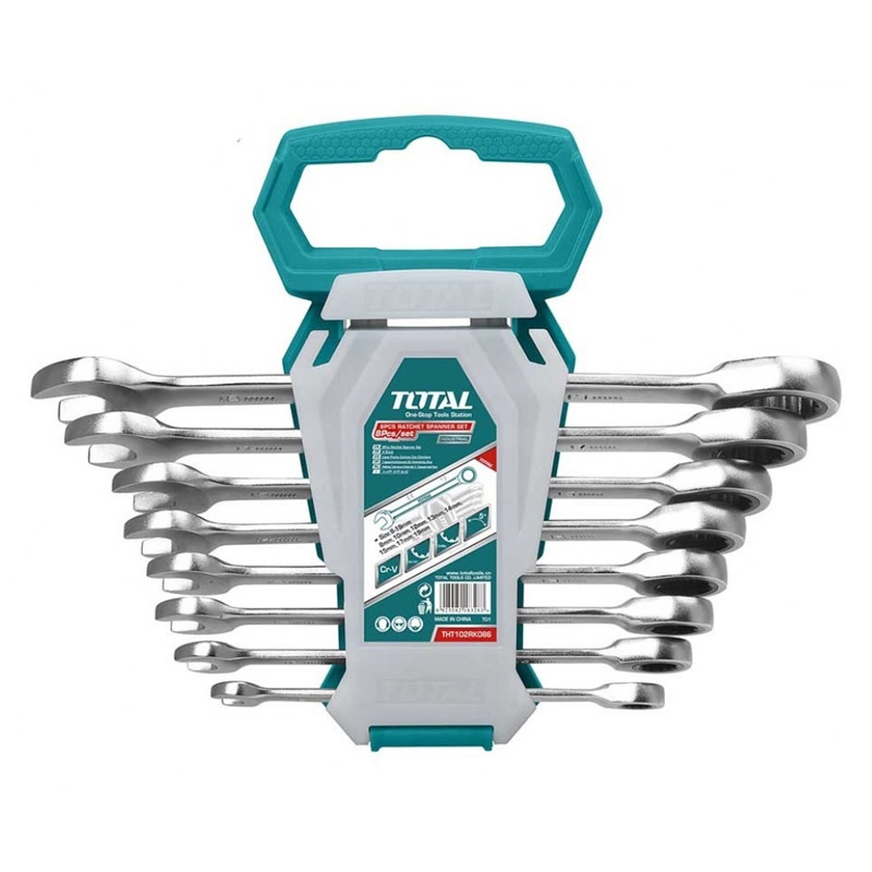 Set 8 chei combinate cu clichet Total Industrial, 8 - 19 mm, husa inclusa 2021 shopu.ro