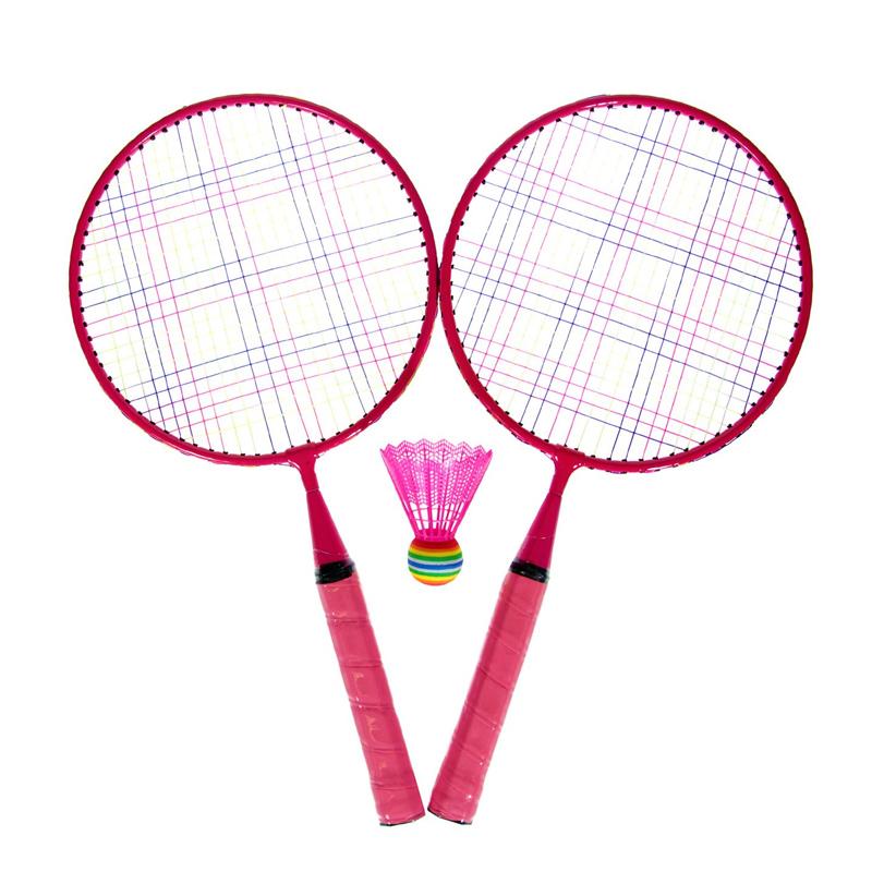 Set Badminton, 1 x fluturas, 46 cm, maner anti-aluncare, Roz 2021 shopu.ro