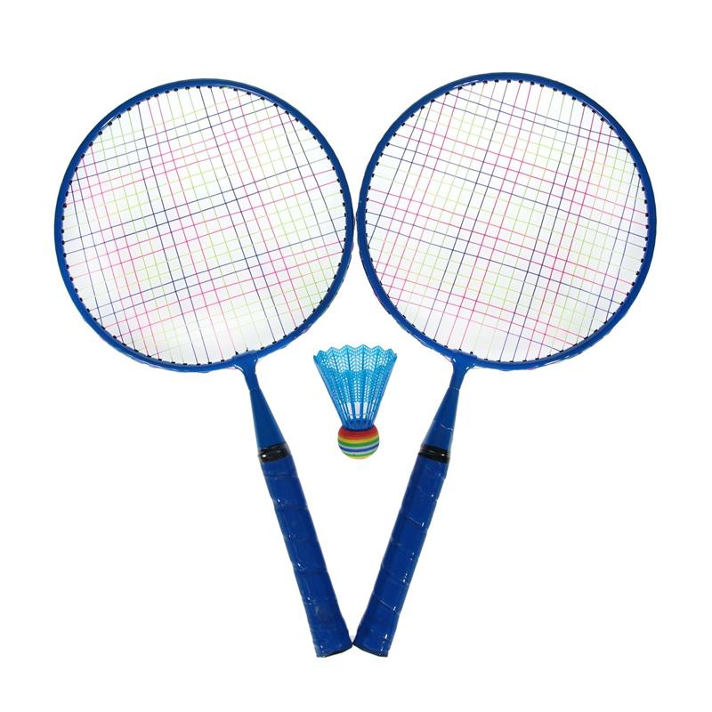 Set Badminton, 1 x fluturas, 46 cm, maner anti-aluncare, Albastru 2021 shopu.ro