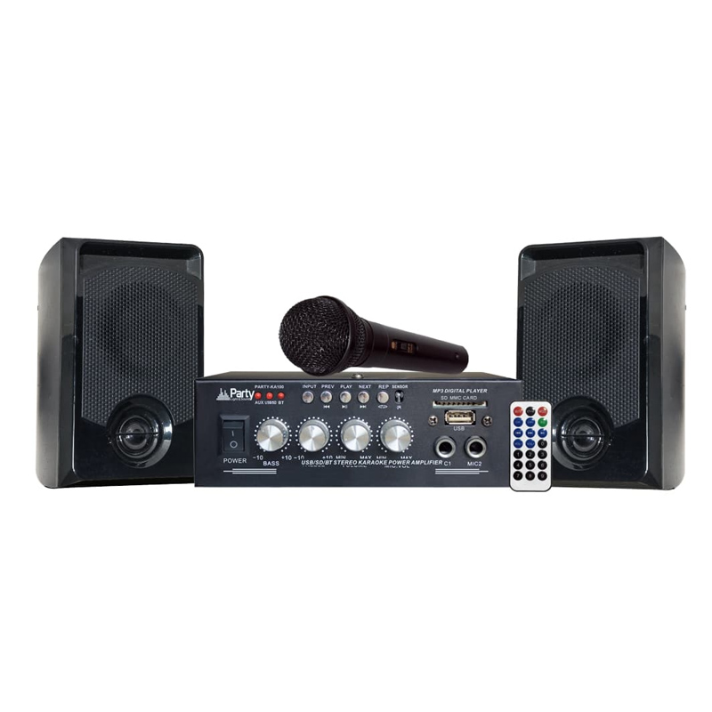 Set Karaoke Party, amplificator, microfon, Bluetooth, 2 boxe 2021 shopu.ro