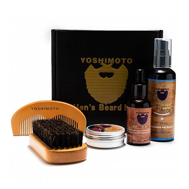 Set barber Yoshimoto Fearless, 1 x sampon, 1 x ulei, 1 x ceara, 1 x pieptene, 1 x perie