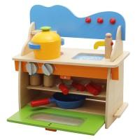 Set bucatarie pentru copii, lemn, multicolor