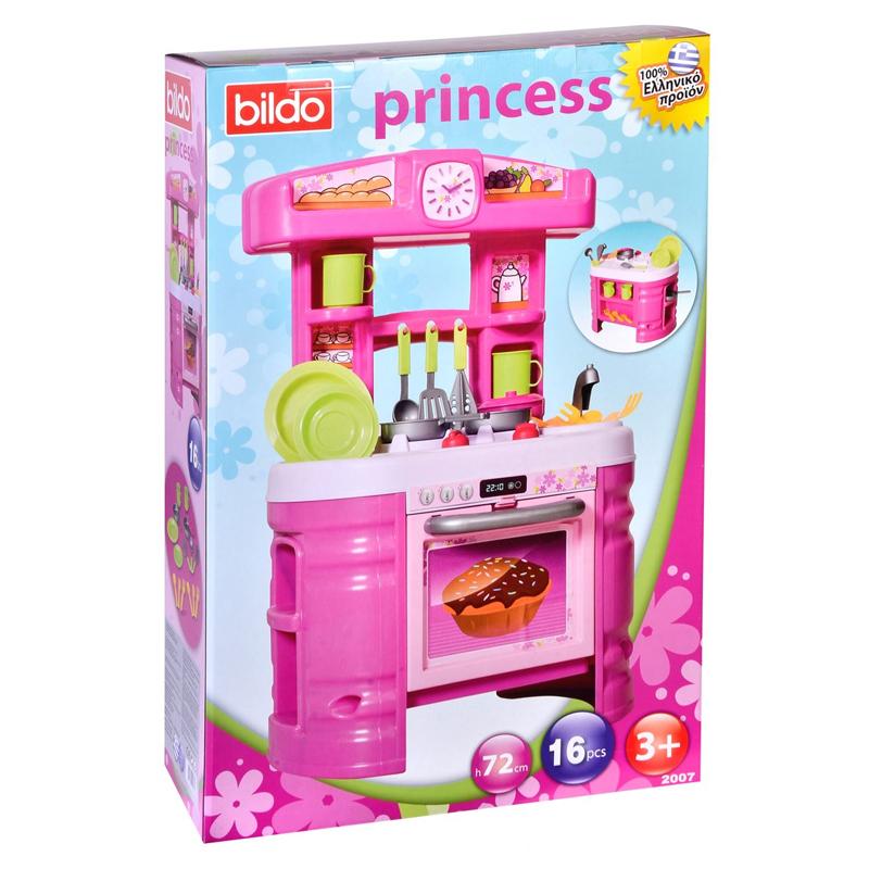 Set bucatarie pentru copii Princess Bildo, 72 cm, 16 accesorii 2021 shopu.ro