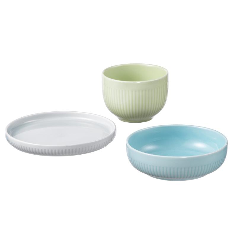 Set ceramica pentru mic dejun, 2 x bol, 1 x farfurie, Multicolor 2021 shopu.ro