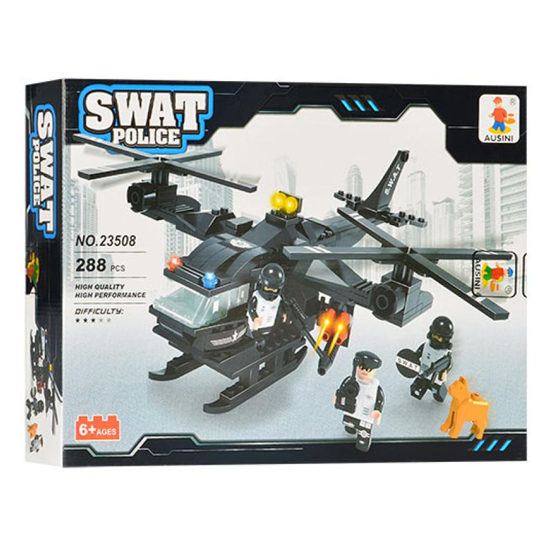 Set constructie elicopter Swat Police Ausini, 288 piese 2021 shopu.ro