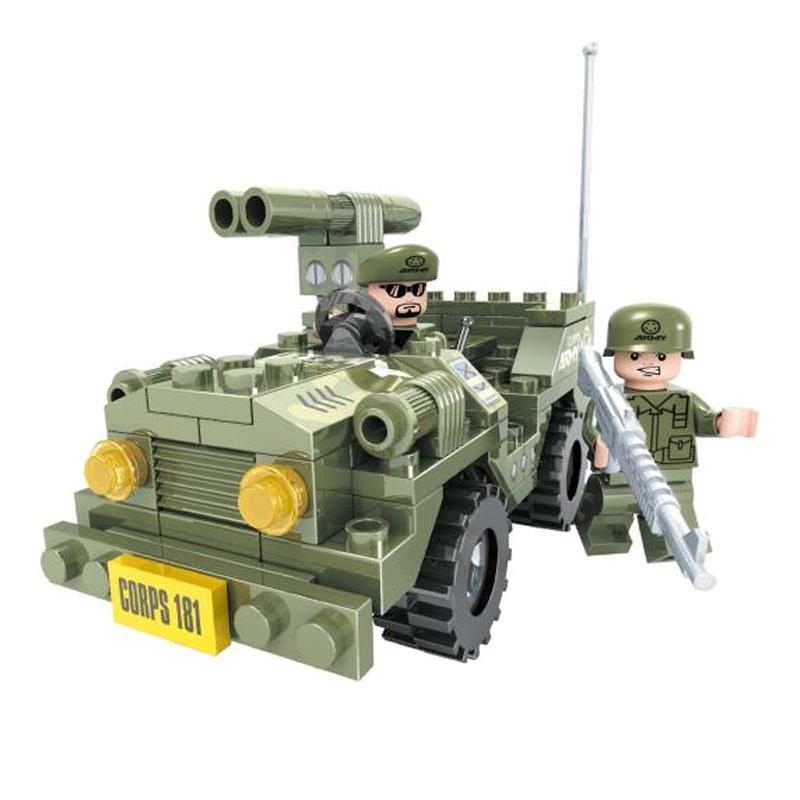 Set constructie masina Army Ausini, 118 piese, 3 ani+ 2021 shopu.ro