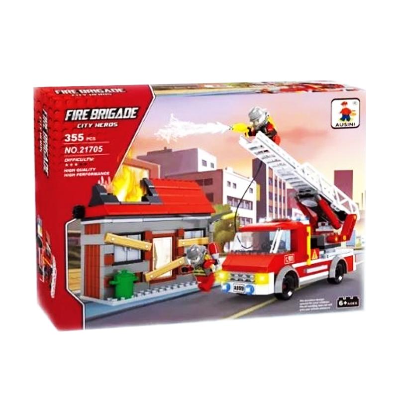 Set constructie masina pompieri Fire Brigade Ausini, 355 piese 2021 shopu.ro