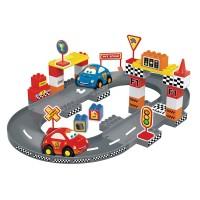 Set constructie pista auto Racing Cars Bildo, 36 piese