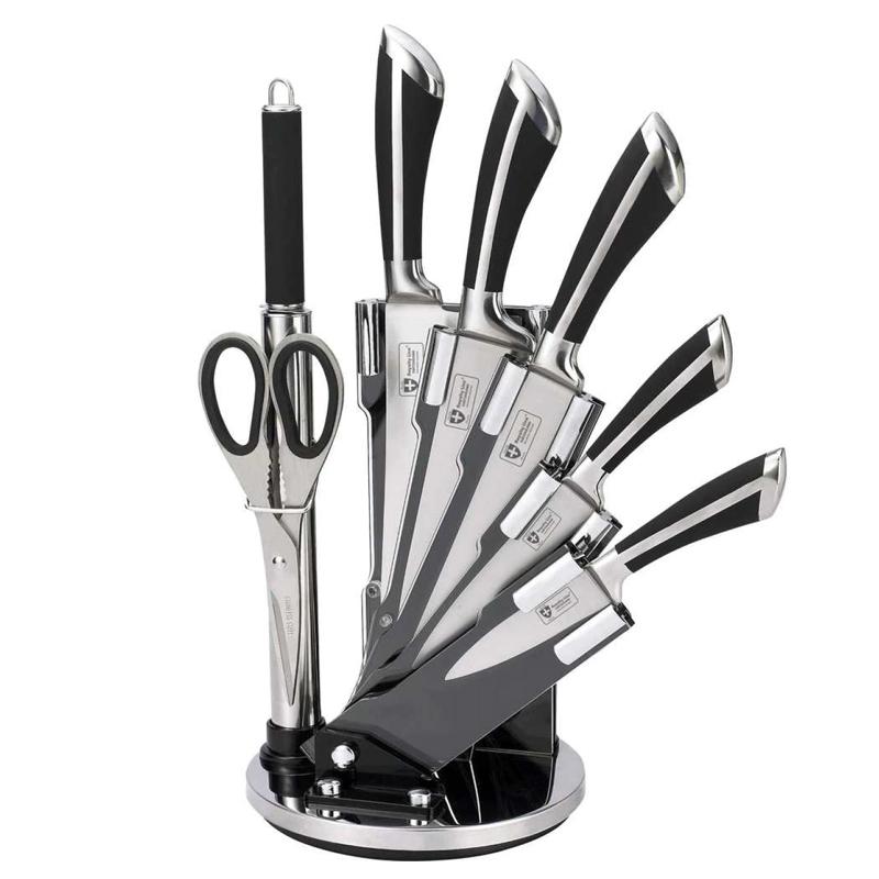 Set cutite Royalty Line, 8 piese, suport inclus, maner ergonomic, Negru/Argintiu 2021 shopu.ro