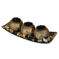 Set de baza pentru lumanari, 3 sfesnice, pietre decorative