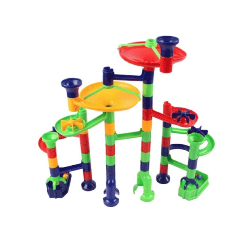Set de construit rolercoaster Marbulous Miniland, 56 piese