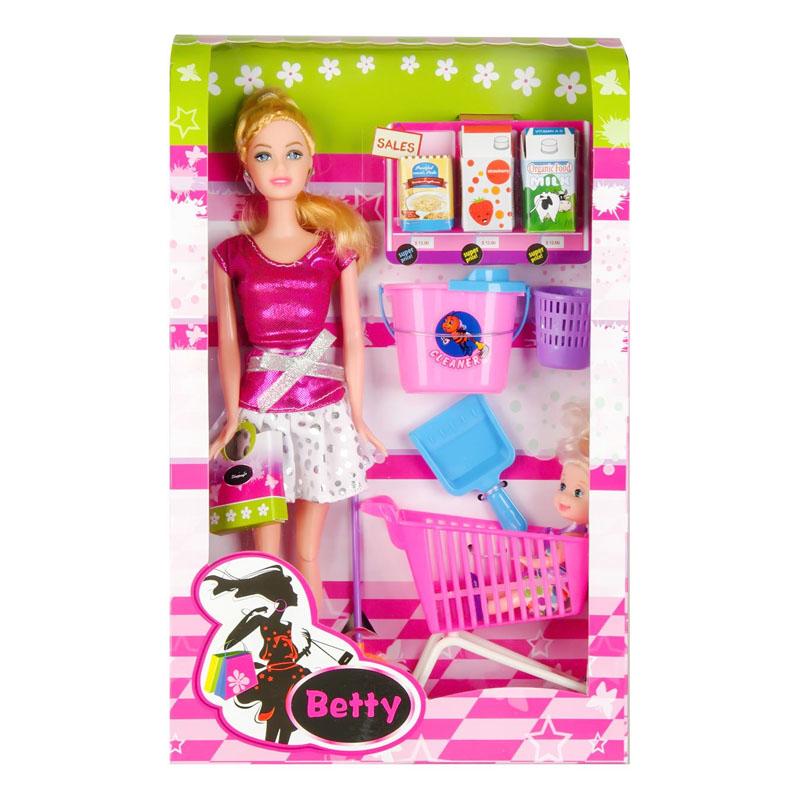 Set de joaca Papusa Betty Souper Market, 31 cm, accesorii incluse 2021 shopu.ro