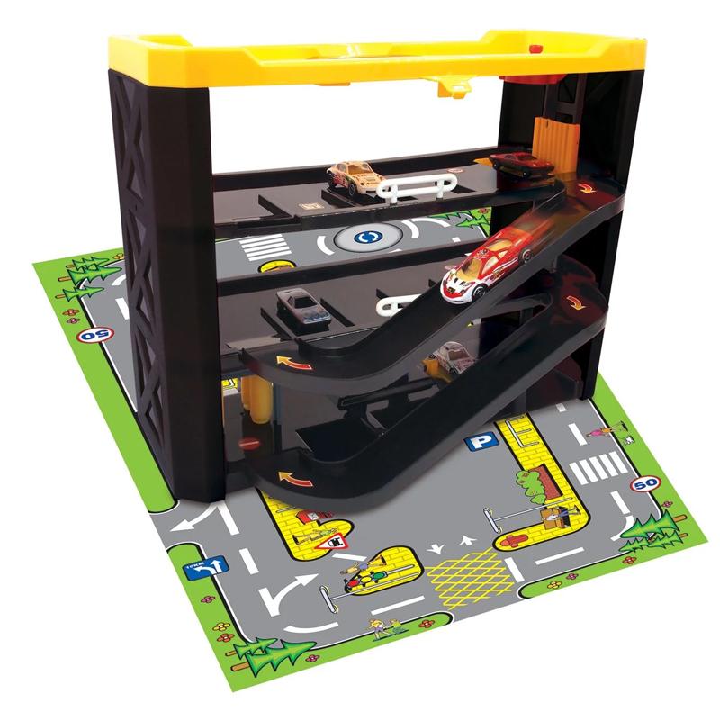 Set de joaca garaj cu covor, 3 niveluri, 40 x 15 x 31 cm, masina inclusa 2021 shopu.ro